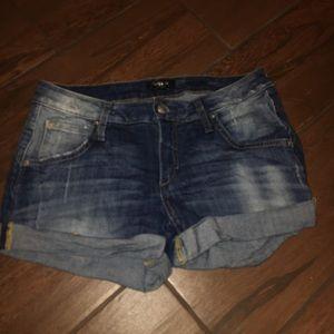 denim bebe shorts
